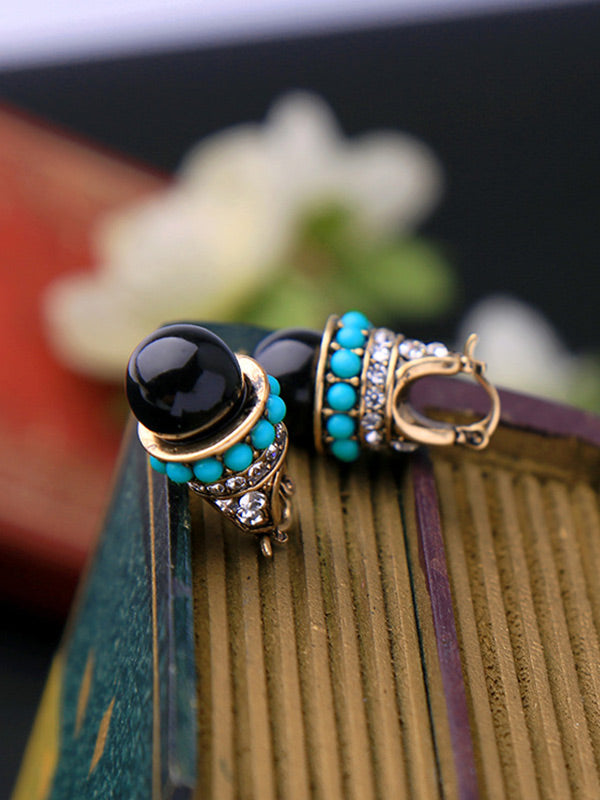 Elegant Blue Bead Earrings