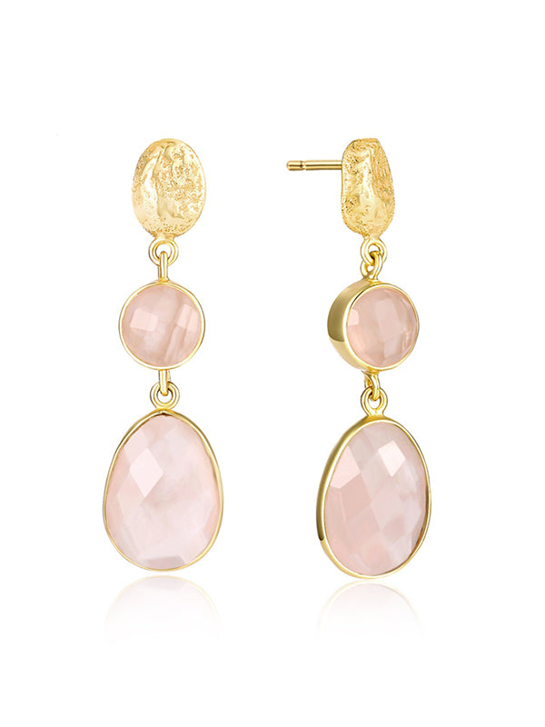 Natural Pink Crystal Drop Pattern Earrings