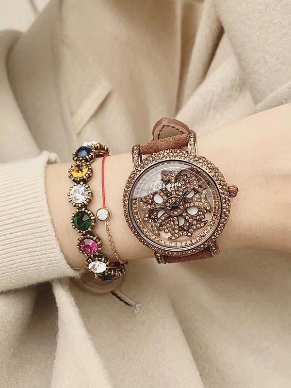 Full Of Diamond Leather Women's Watch