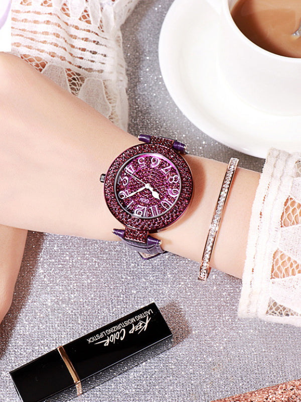 Women's Watch Full Drill Diamond large dial Leather Strap elegant watch