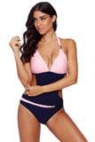 Pink Push-up Halter One-piece Swimwear