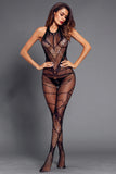Black Mesh Heart Detail Backless Bodystocking