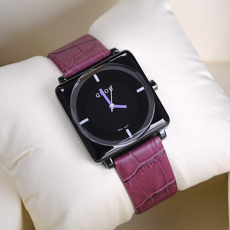 Women's Watch square black dial leather strap stylish watch
