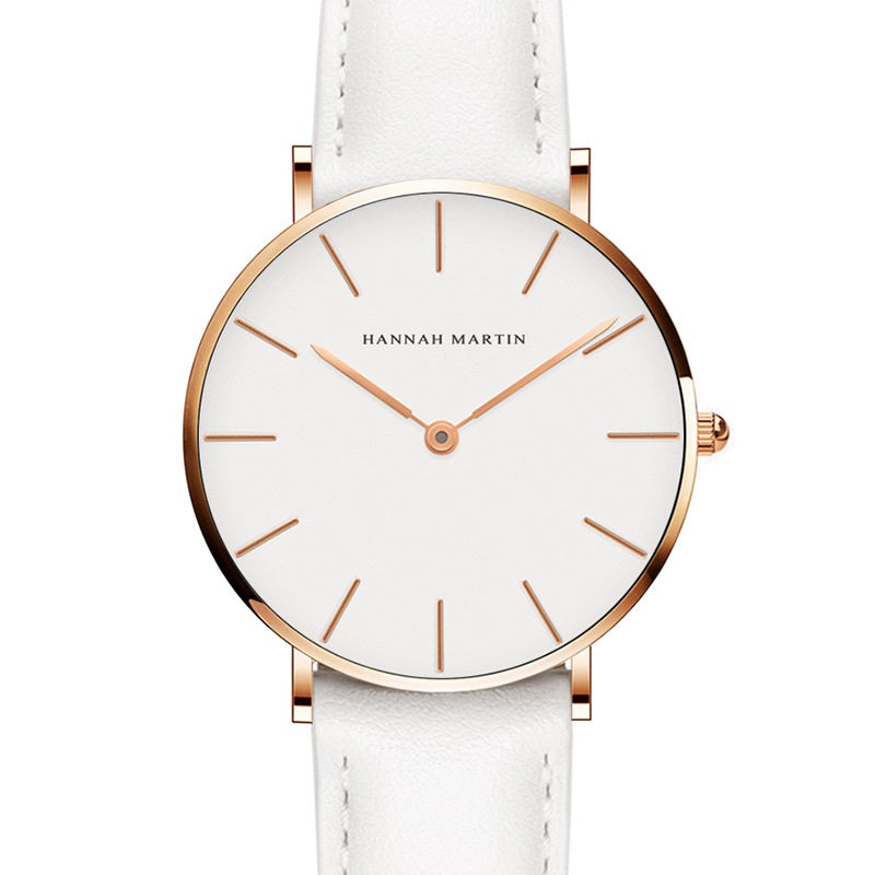 Simple White Dial Leather Strap Women's Watch