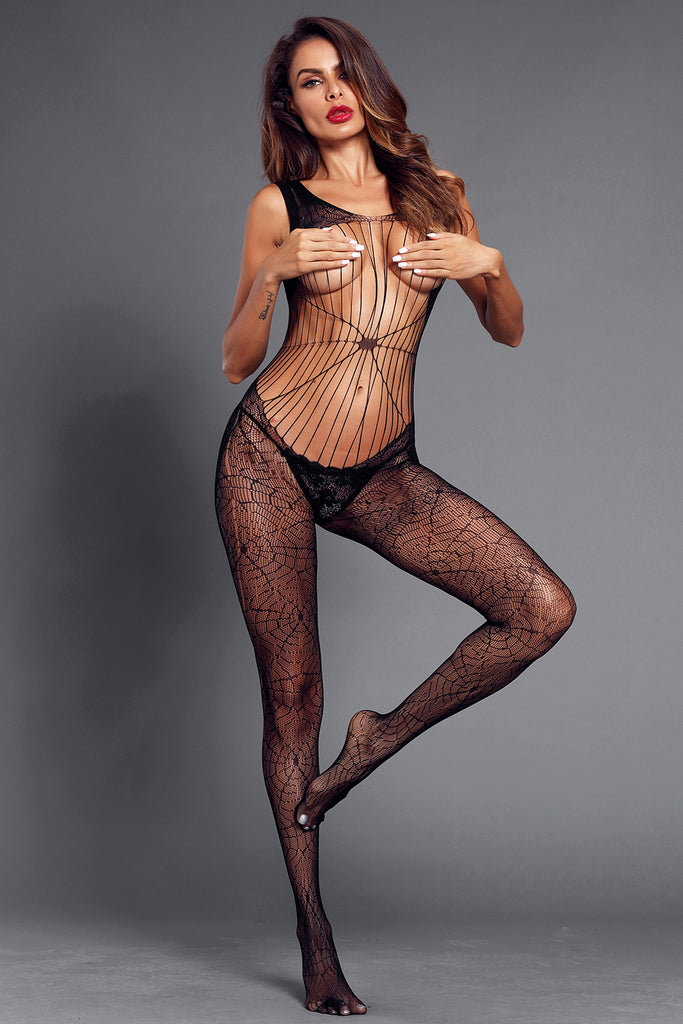 Black Daring See Through Cobweb Bodystocking