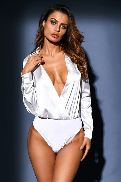 White Silky Faux Wrap Bodysuit