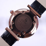 Women's Watch Seashell Dial With Diamonds leather strap elegant watch