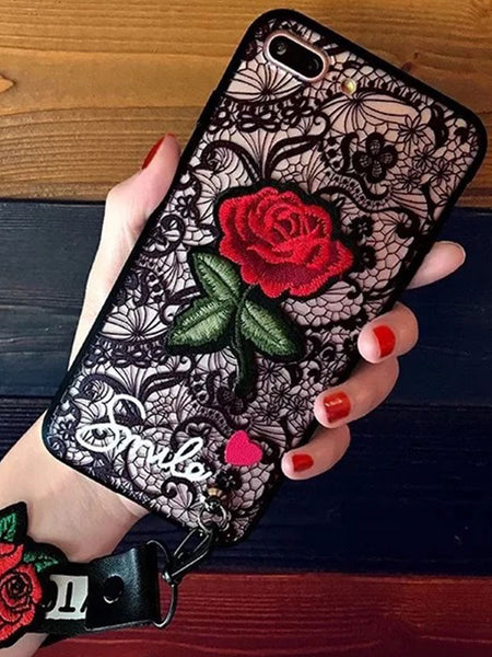 Painted Embossed Rose Lace Pattern Phone Case