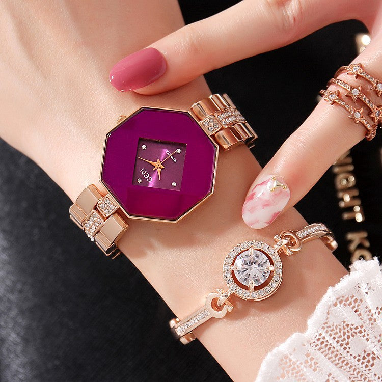 Rhombus-shaped Frame Women's Watch 2 Pcs Set