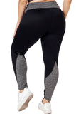 Black Heathered Splice Plus Size Yoga Pants