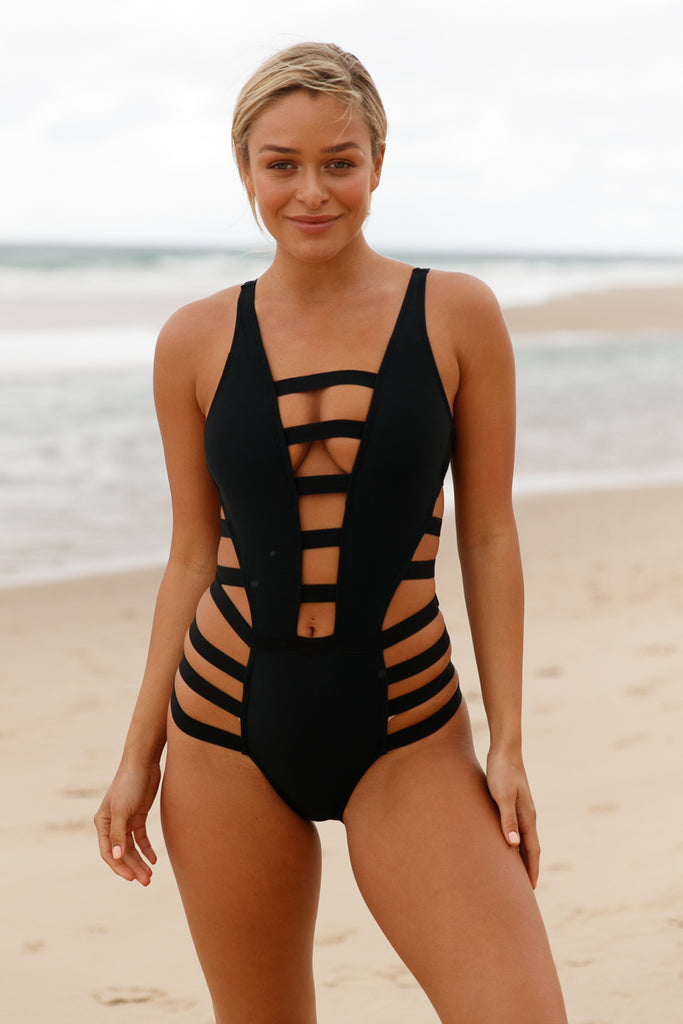 Black Strappy Cutout One Piece Bathing Suit