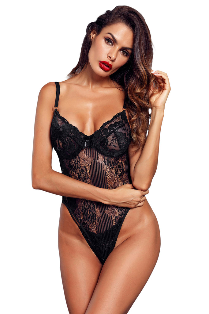 Yummy Scalloped Lace Teddy Lingerie