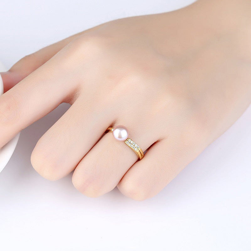 Natural 7mm Pearl Simple Open Ring