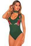 Embroidered Rose Choker Bodysuit