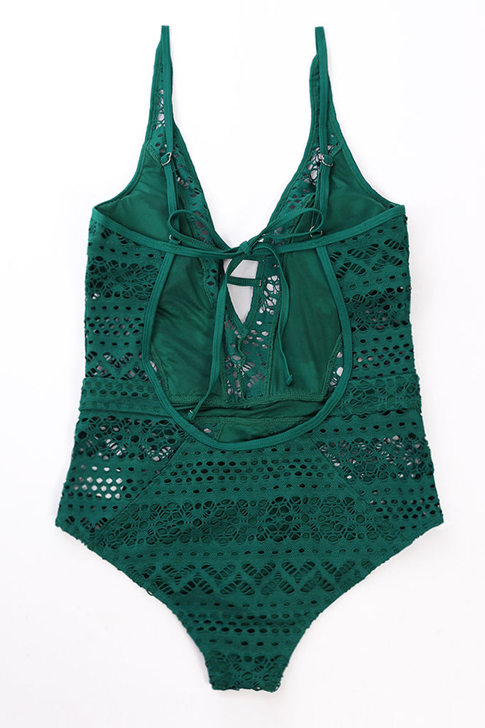 Green Lace Hollow Out Padded Maillot Swimsuit