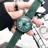 Rotatable Dial Green Watch For Women