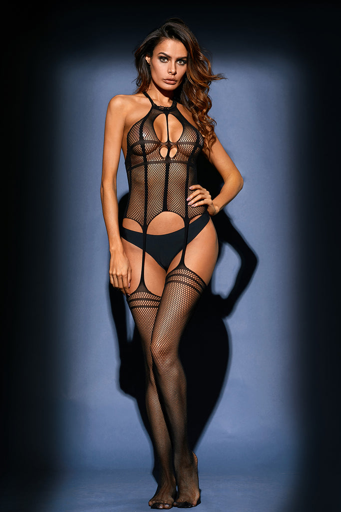 Strappy Gartered Halter Bodystocking