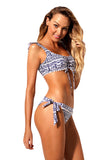 Blue Tribal Print Lacy Decor Trim 2pcs Bikini Swimsuit