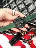 Green Diamond Leather Women's Watch