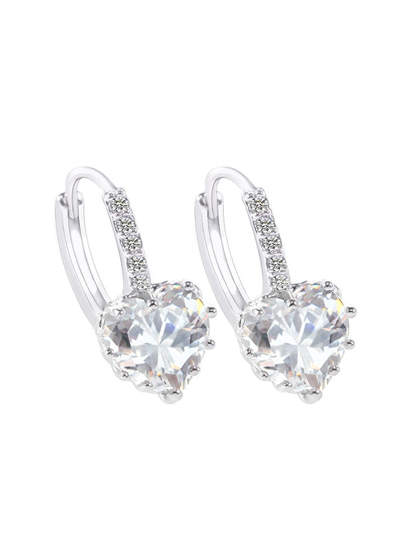 Heart-shaped Zircon Earrings