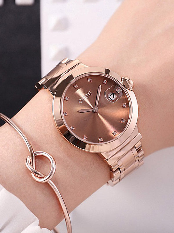 Rose Gold Diamond Green Women's Watch