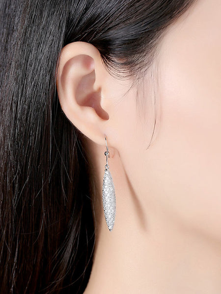 Shuttle-shaped Full Diamond Earrings