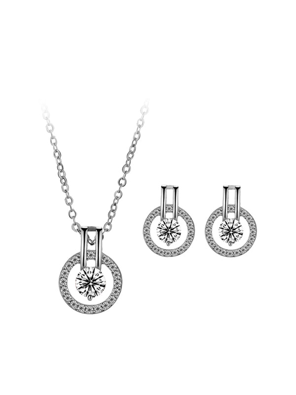 Lover's Eye Patern Necklace&Earrings Set