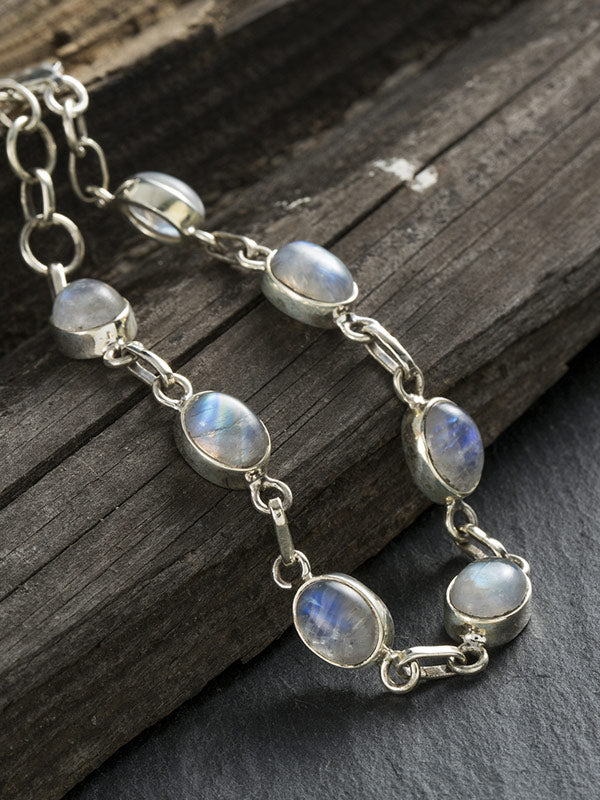 Natural Turquoise&Rainbow Moonstone Bracelet