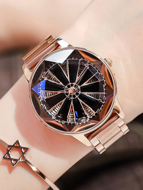 Big Turntable Style Stainless Steel Women's Watch