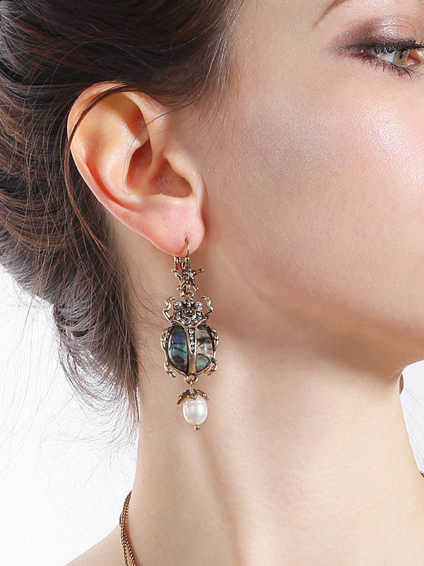 Golden Insect Pattern Earrings