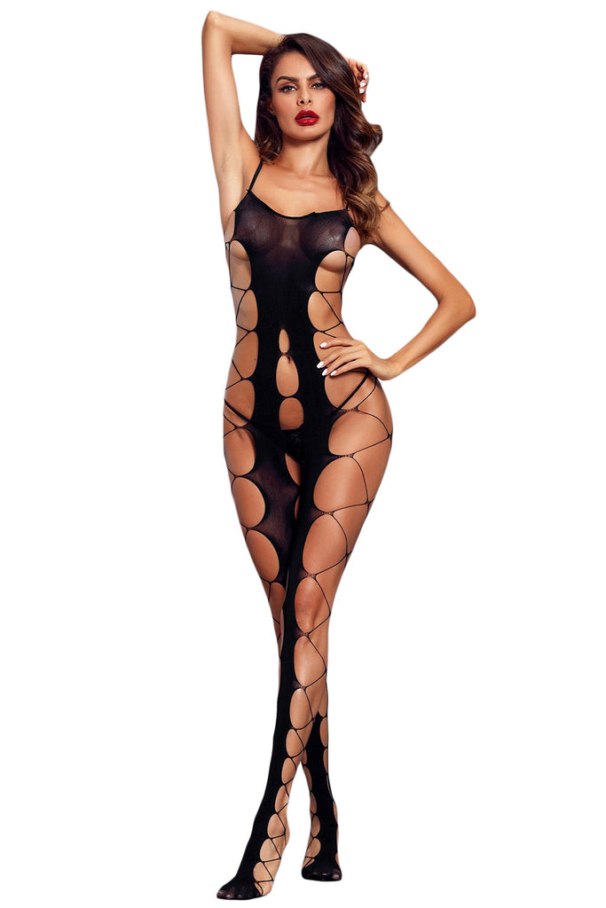 Sexy Fishnet Big Holes Open Crotch Body Stocking