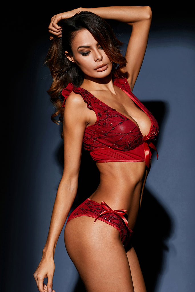 Red Sequin Embroidered 2pcs Lingerie Set