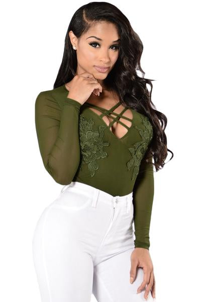 Floral Applique Front Long Sleeve Mesh Bodysuit