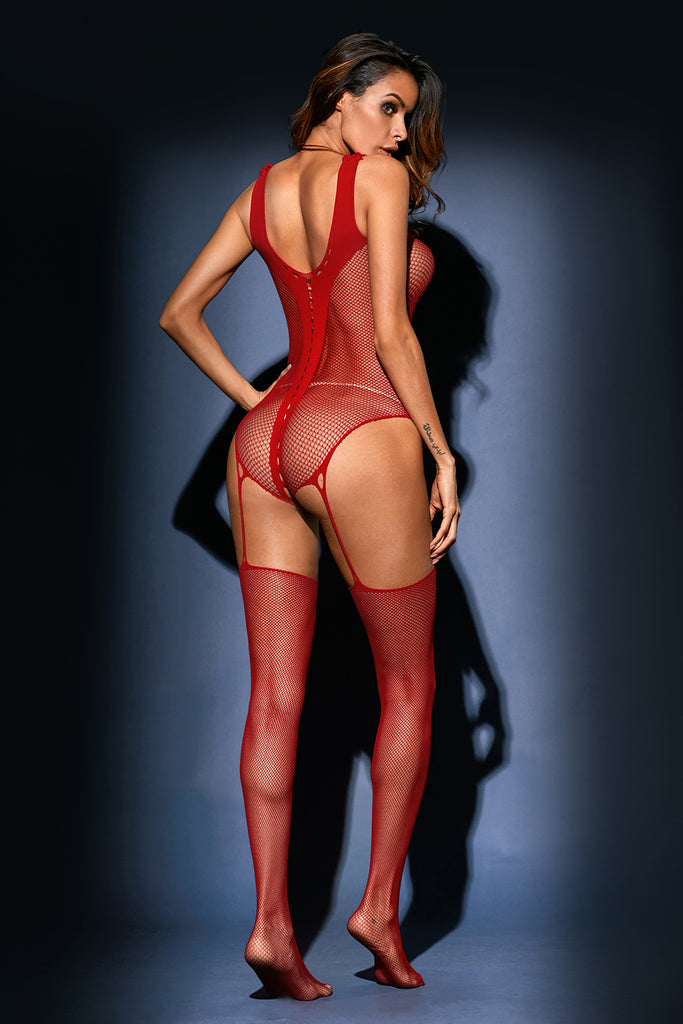 Red Teddy and Garter Stocking One-piece Lingerie