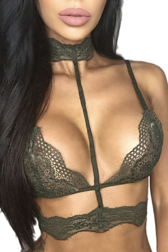 Army Green Seductive Strappy Choker Lace Bra Lingerie