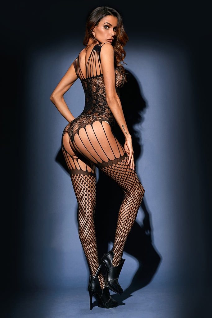 Seamless Floral Lace Strappy Suspender Bodystocking