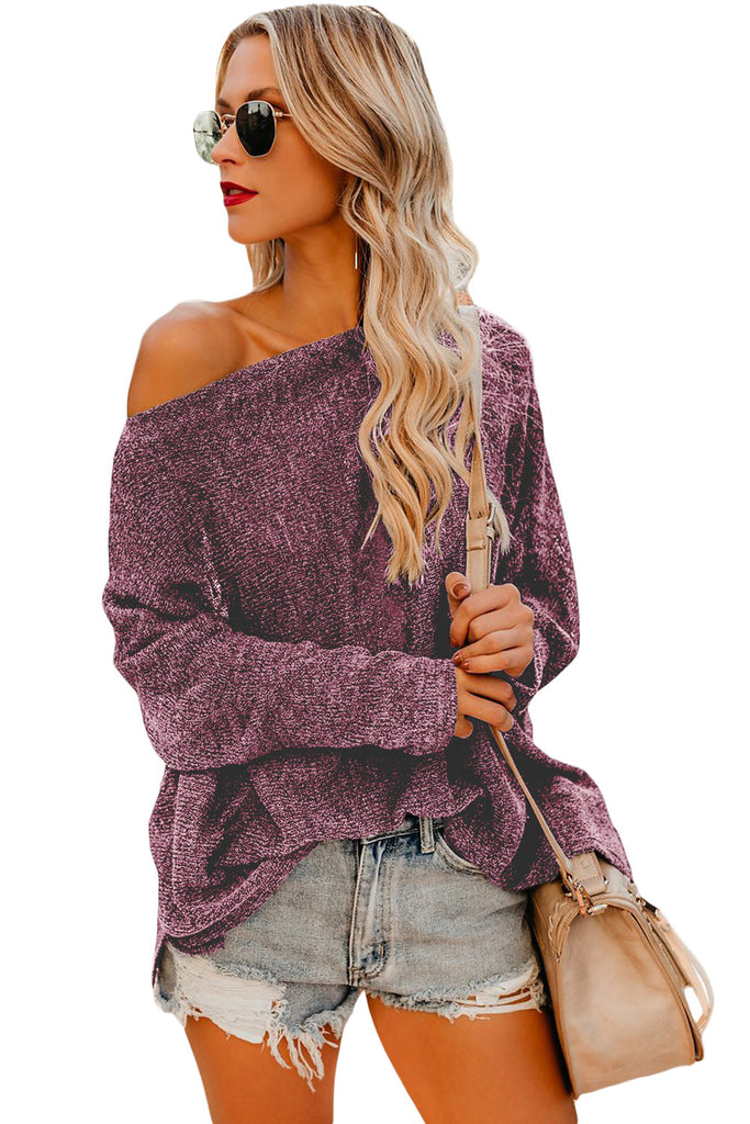 Burgundy Drop Shoulder Lightweight Knitwear