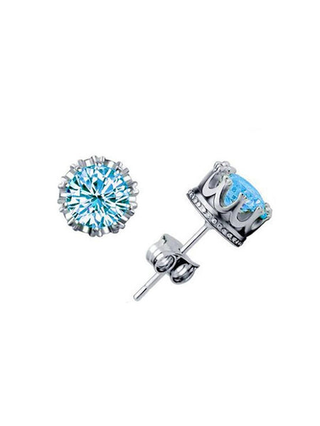 Crown Pattern Zircon Earrings