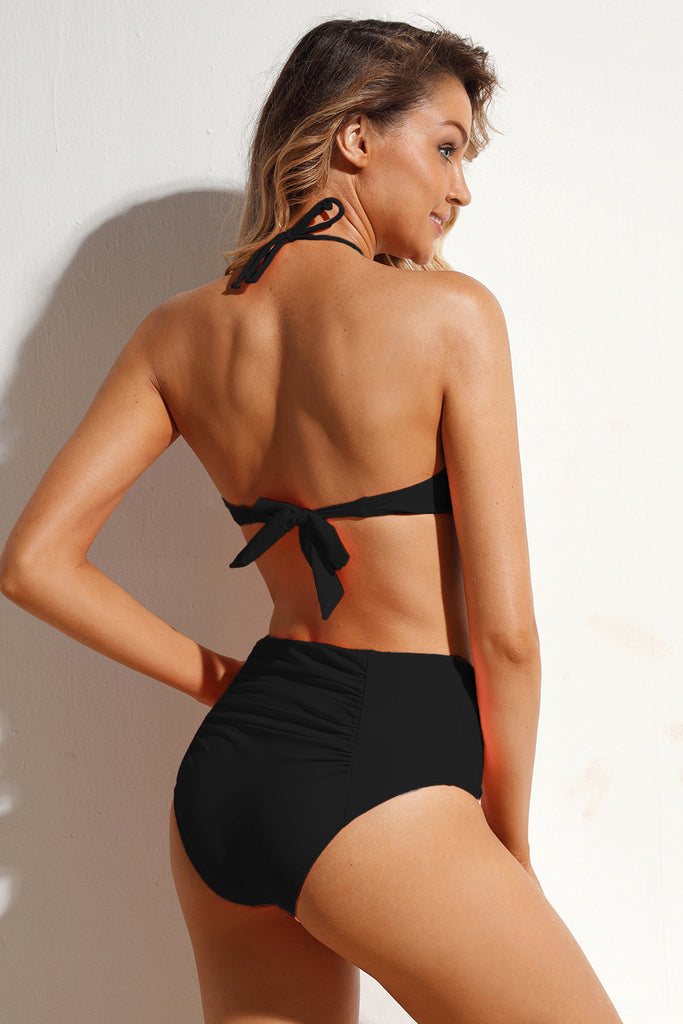 Black Halter High Waist Bikini Swimwear
