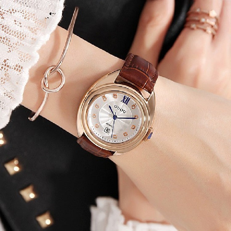 Round Dial With Calendar Women's Watch