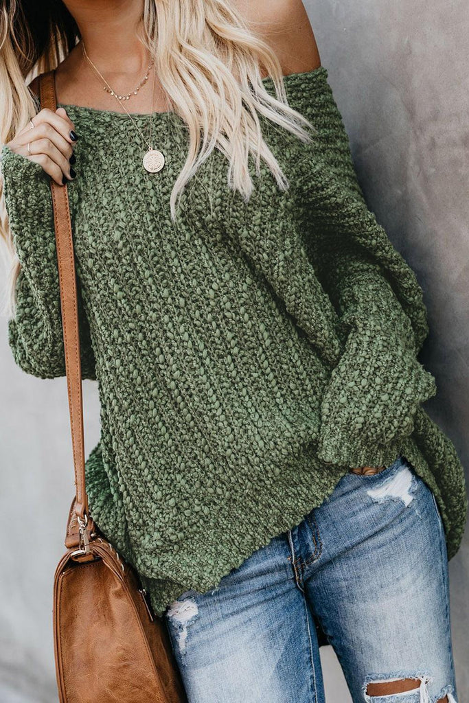Green Warm My Soul Knit Off Shoulder Sweater
