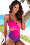 Purple Ombre Tie Dye Wrap Front Teddy Swimsuit