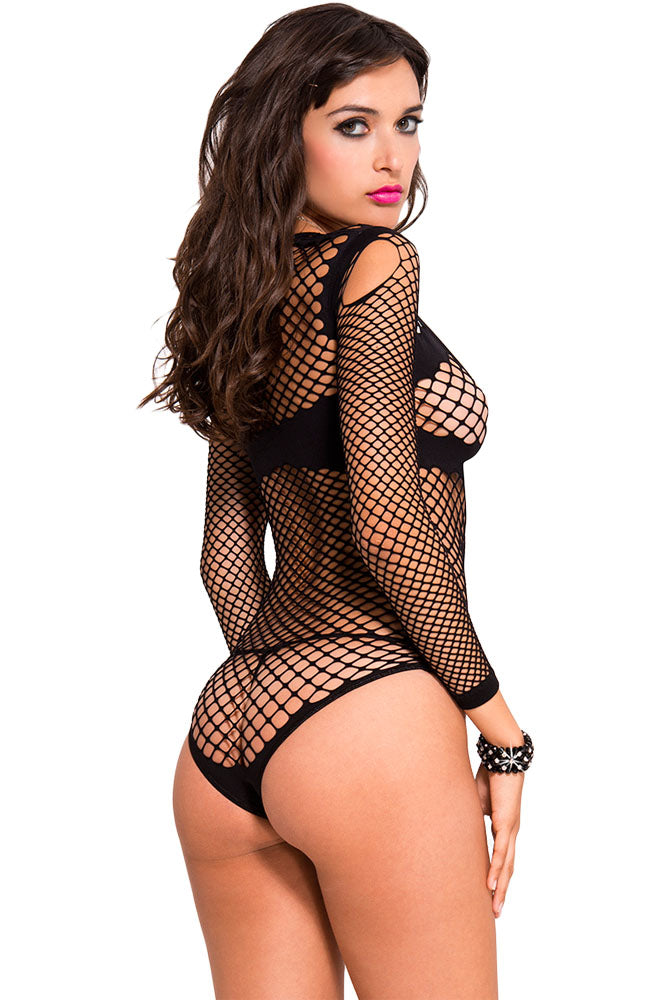 Black Long Sleeve Fishnet Teddy