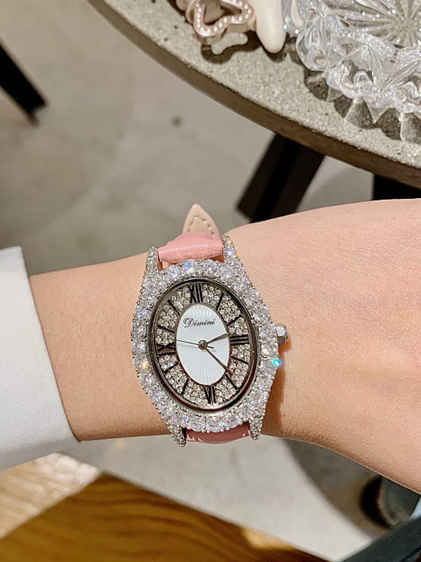 Diamond Oval Leather Women's Watch