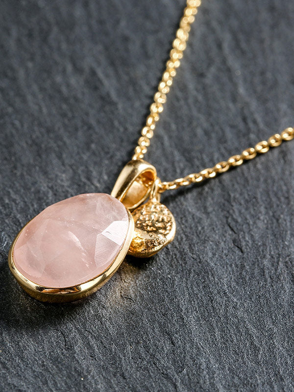 Natural Pink Crystal Necklace