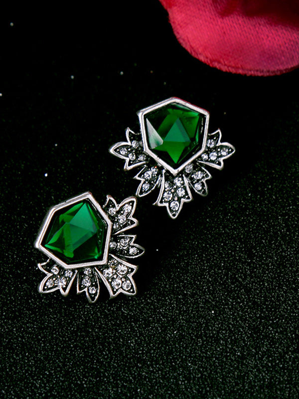 Retro Irregular Green Earrings