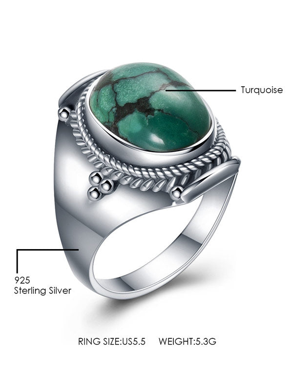 Natural Turquoise 925 Sterling Silver Ring