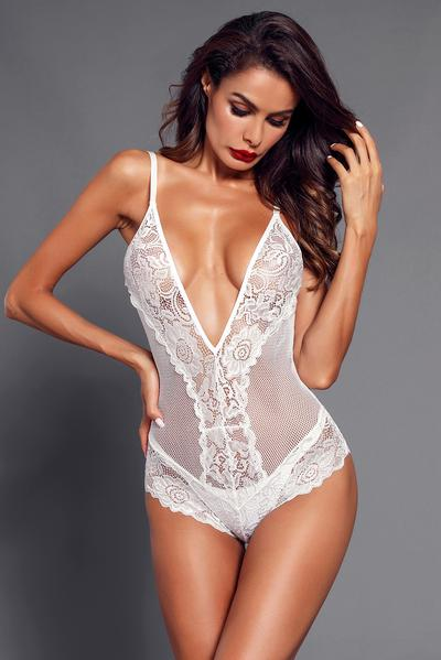 Lace Net Plunging V Neck Bodysuit