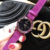 Purple Fur Strap Women's Watch