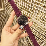 Octagonal Mirror Leather Strap Women's Watch